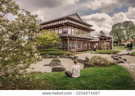日本枯山水园林风光-宗教,公园/室外-海洛创意()-中国