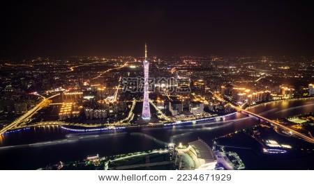 广州塔夜景-建筑物/地标,背景/素材-海洛创意正版图片