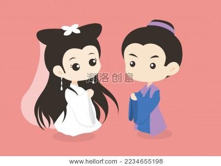 白娘子和许仙q版人物设计矢量图 - 背景/素材,人物