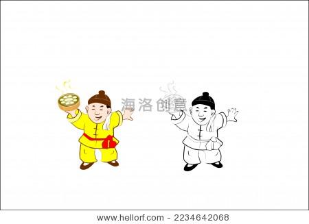 中国传统人物卡通矢量图