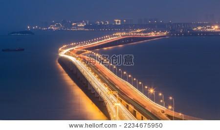 厦门集美大桥夜景-交通运输,建筑物/地标-海洛创意()
