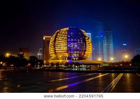 杭州国际会议中心洲际酒店夜景 - 建筑物/地标,商业