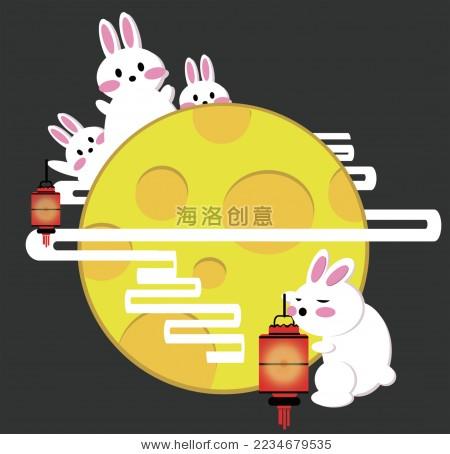 中秋节玉兔和圆月矢量插画