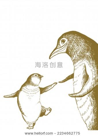 手绘速写风格矢量企鹅-动物/野生生物,背景/素材-海洛