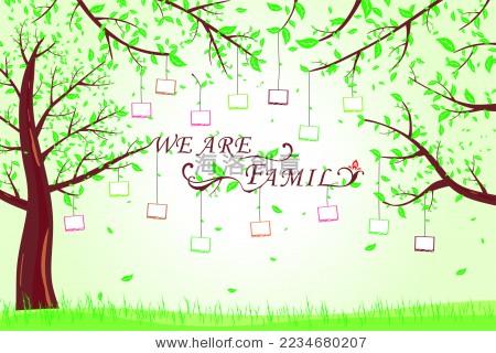"family""树枝照片墙矢量图"