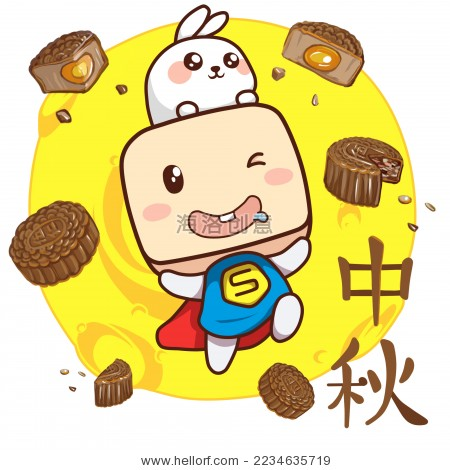 中秋卡通插画,月亮与月饼-背景/素材,假期-海洛创意()