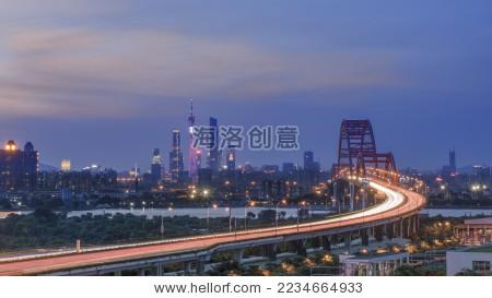 中国广东省广州市星光桥城市风景广州塔长曝光夜景
