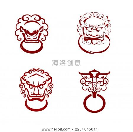中式古典建筑门环样式矢量图