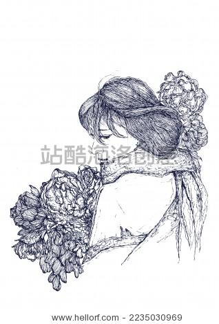 原创手绘人像 文艺 少女 花朵 梦想 - 背景/素材,艺术