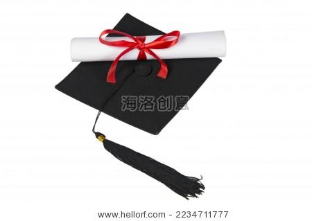 白色背景下的学士帽 毕业证书
