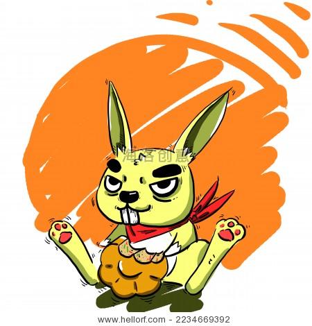 中秋节玉兔吃月饼卡通插画