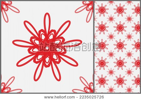 红色喜庆无缝花纹拼接背景 墙纸剪纸图案 - 背景/素材