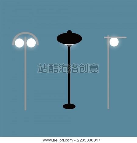 路灯 简易扁平 街道户外照明 - 背景/素材,公园/室外