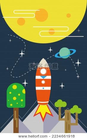 卡通太空,植物矢量素材-自然,科学-海洛创意(hellorf)