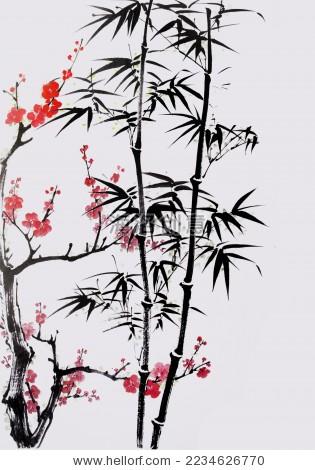 水墨竹子-背景/素材,自然-海洛创意正版图片,视频,-.