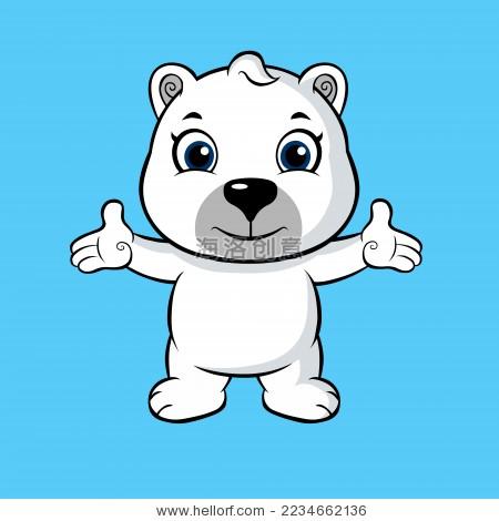 卡通北极熊小白熊矢量图-动物/野生生物