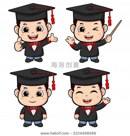 卡通小博士矢量图-教育,人物 -海洛创意正版图片,视频