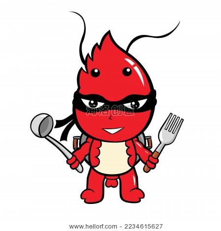 卡通忍者虾矢量造型图-动物/野生生物,各种各样-海洛