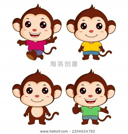 卡通小猴子矢量造型图
