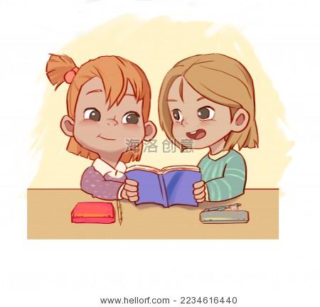 卡通女孩子学习