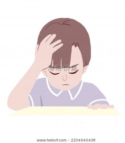 考试 男孩 插画 卡通