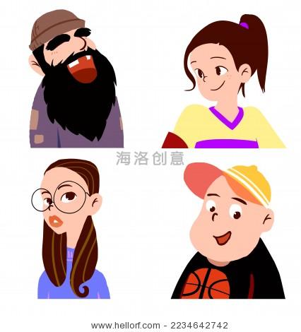 卡通 男 女人物 头像