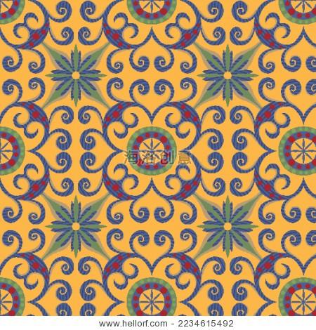 花卉几何民族风图案-背景/素材