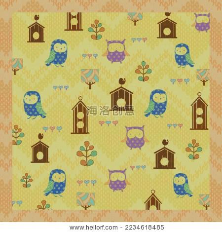 卡通兒童貓頭鷹木房子圖案設計