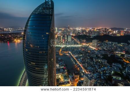 航拍厦门地标建筑 aerial view of xiamen landmark architecture