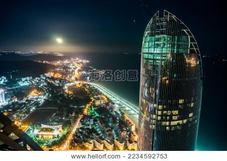 航拍厦门地标建筑双子塔和演武大桥夜景 aerial view