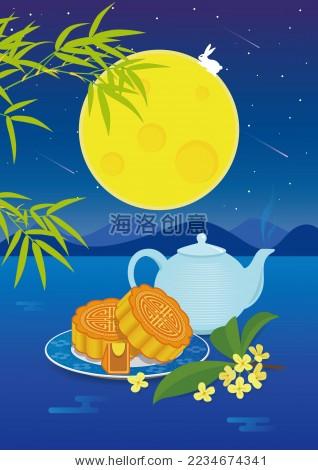 中秋夜吃月饼赏月