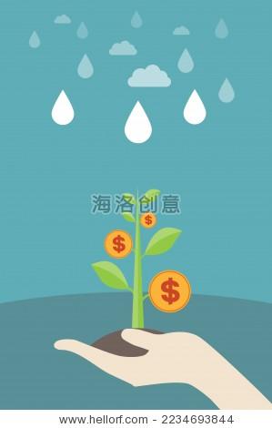 手捧金钱树幼苗——经济增长,货币增长,投资理财,利润