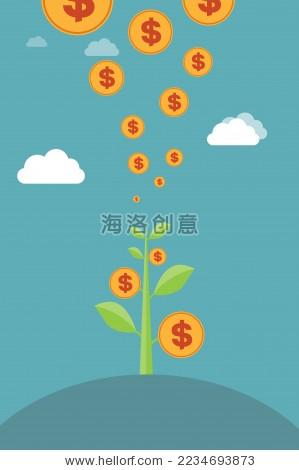 金钱树——经济增长,货币增长,投资理财,利润,财务管理概念创意矢量