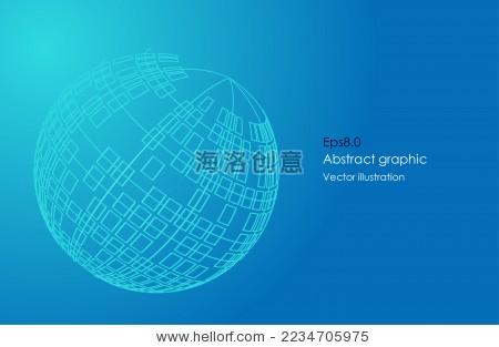 线,面组成3d球体,科学技术矢量图