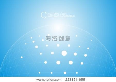 点线连接组成3d多边形网状球体,矢量背景-背景/素材
