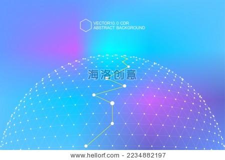 点线连接组成3d多边形网状球体,科技矢量炫彩背景