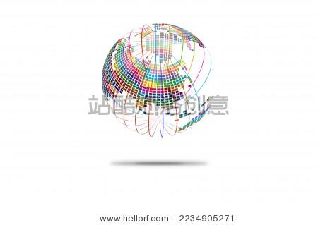 彩色线条围绕着彩色马赛克组成的球形世界地图,科学技术矢量背景图