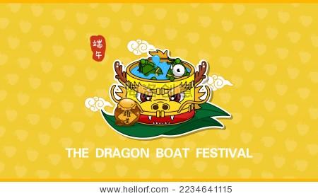 端午节煮粽子的龙舟卡通矢量图