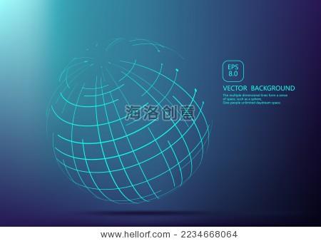 点和线条构成的网格球体,抽象的矢量背景