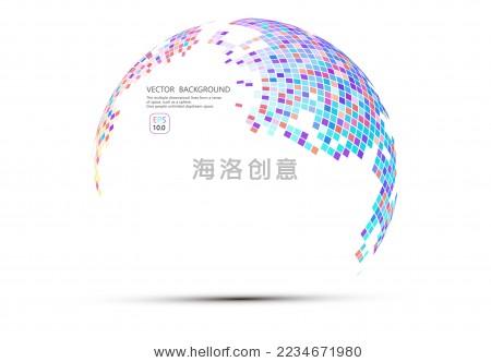 马赛克组成的球形世界地图