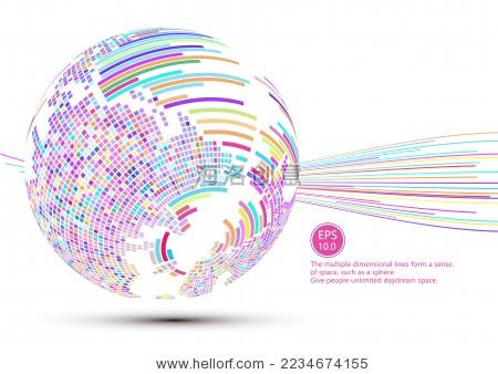 马赛克和线条组成的三维球形世界地图