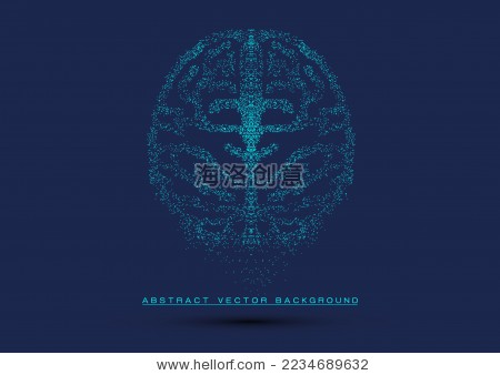点阵图组成的大脑符号,抽象概念矢量背景图-背景/素材