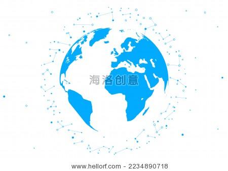 三维抽象矢量星球,寓意全球化,国际化,球形世界地图,点和线连接的矢量