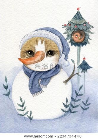 猫咪变身雪孩子-动物/野生生物-海洛创意正版图片,,-.