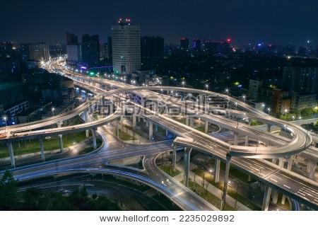 成都二环路高架桥营门口立交桥夜景