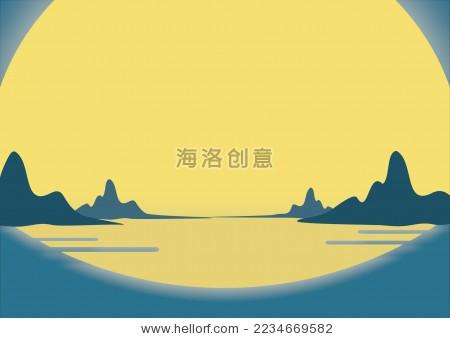 中秋节圆月山水倒影插画矢量