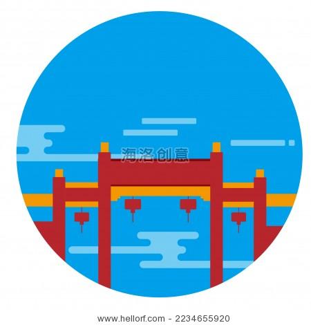 福建福州南后街旅游景点创意矢量图