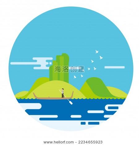 福建武夷山旅游景点创意矢量图 - 背景/素材,自然