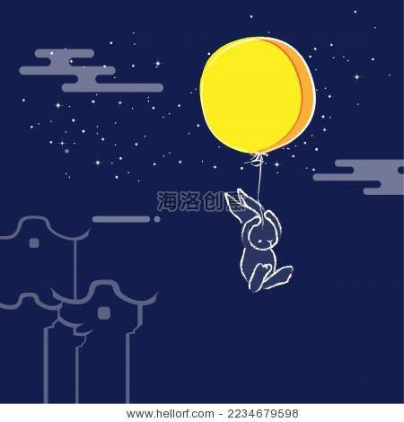 中秋节玉兔登月创意矢量图