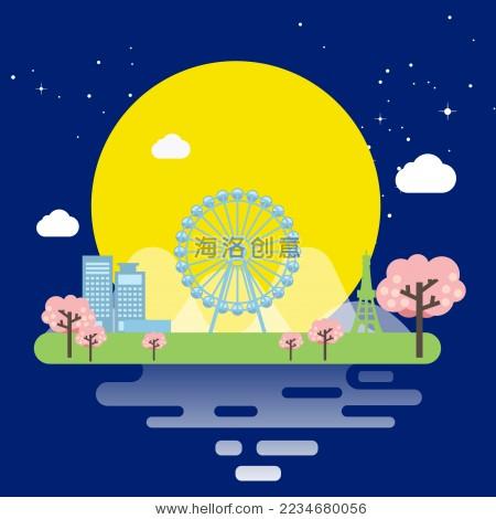 中秋节游乐园风景矢量插画